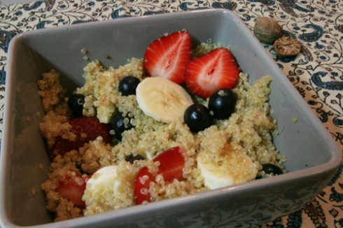 red white & blue quinoa - strawberries, blueberries, bananas