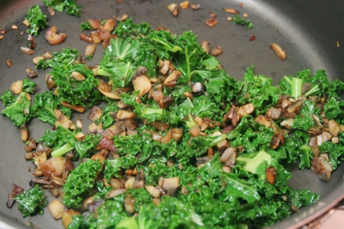 kale, mushrooms, onion